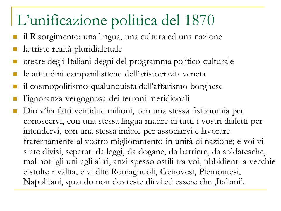 L'unificazione politica del 1870