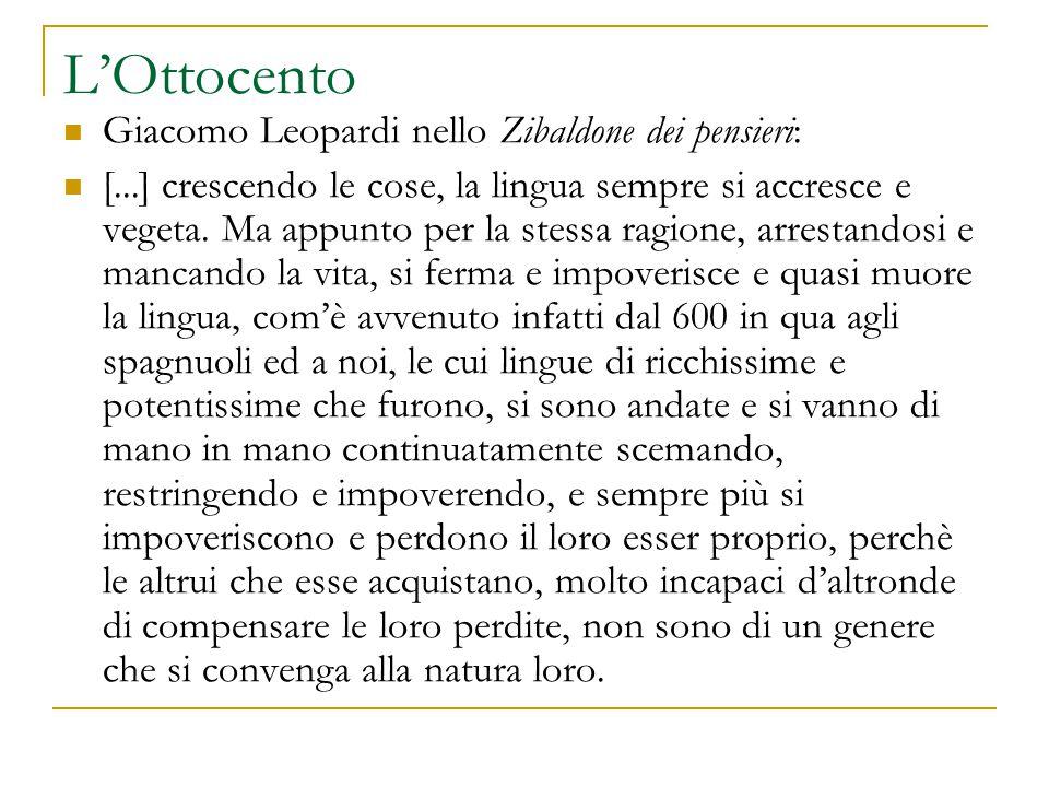 L'Ottocento Giacomo Leopardi nello Zibaldone dei pensieri: