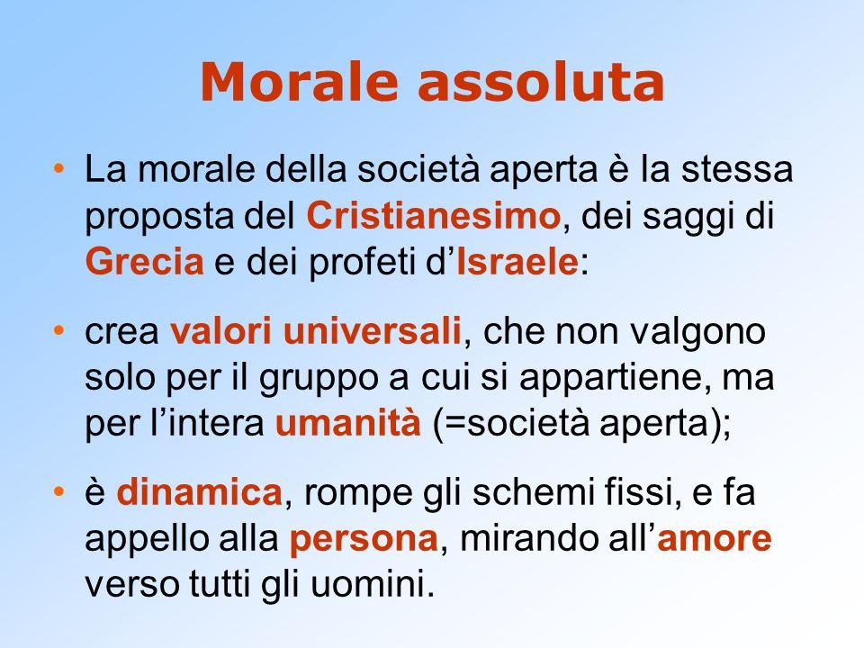Morale assoluta La morale della società aperta è la stessa proposta del Cristianesimo, dei saggi di Grecia e dei profeti d'Israele: