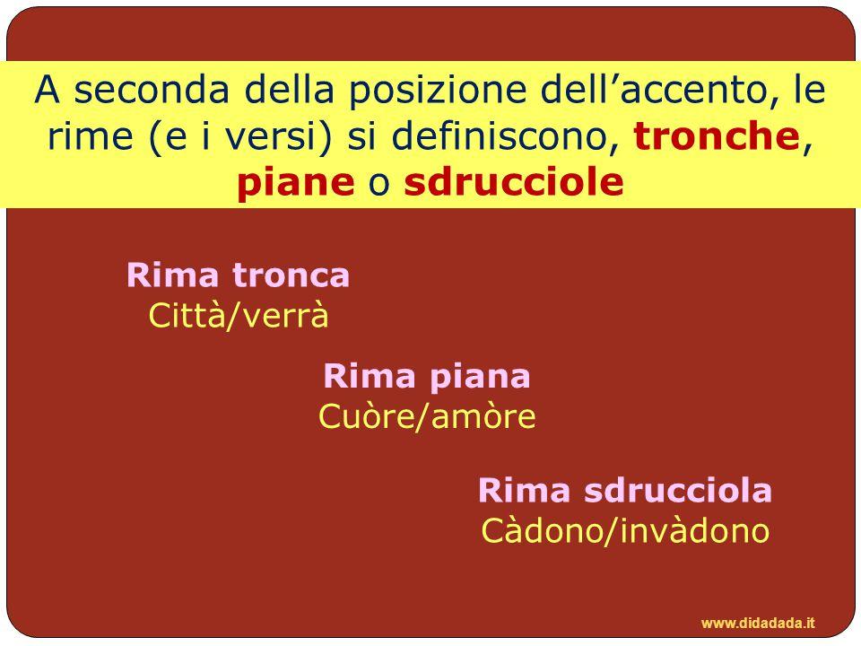 A seconda della posizione dell'accento, le rime (e i versi) si definiscono, tronche, piane o sdrucciole
