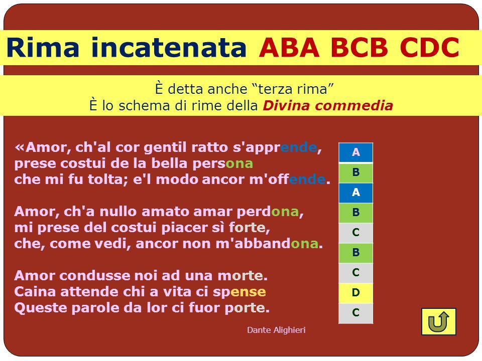 Rima incatenata ABA BCB CDC