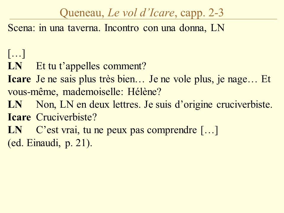 Queneau, Le vol d'Icare, capp. 2-3