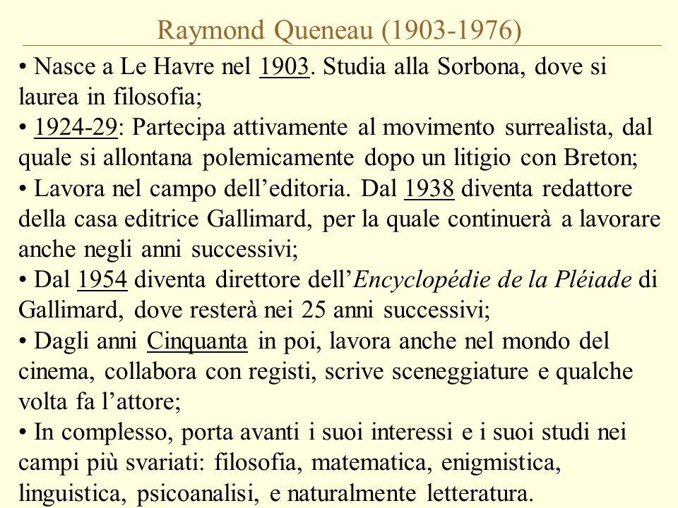 Raymond Queneau (1903-1976) Nasce a Le Havre nel 1903. Studia alla Sorbona, dove si laurea in filosofia;