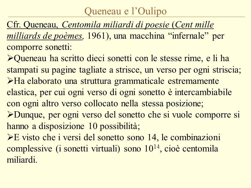 Queneau e l'Oulipo Cfr. Queneau, Centomila miliardi di poesie (Cent mille milliards de poèmes, 1961), una macchina infernale per comporre sonetti:
