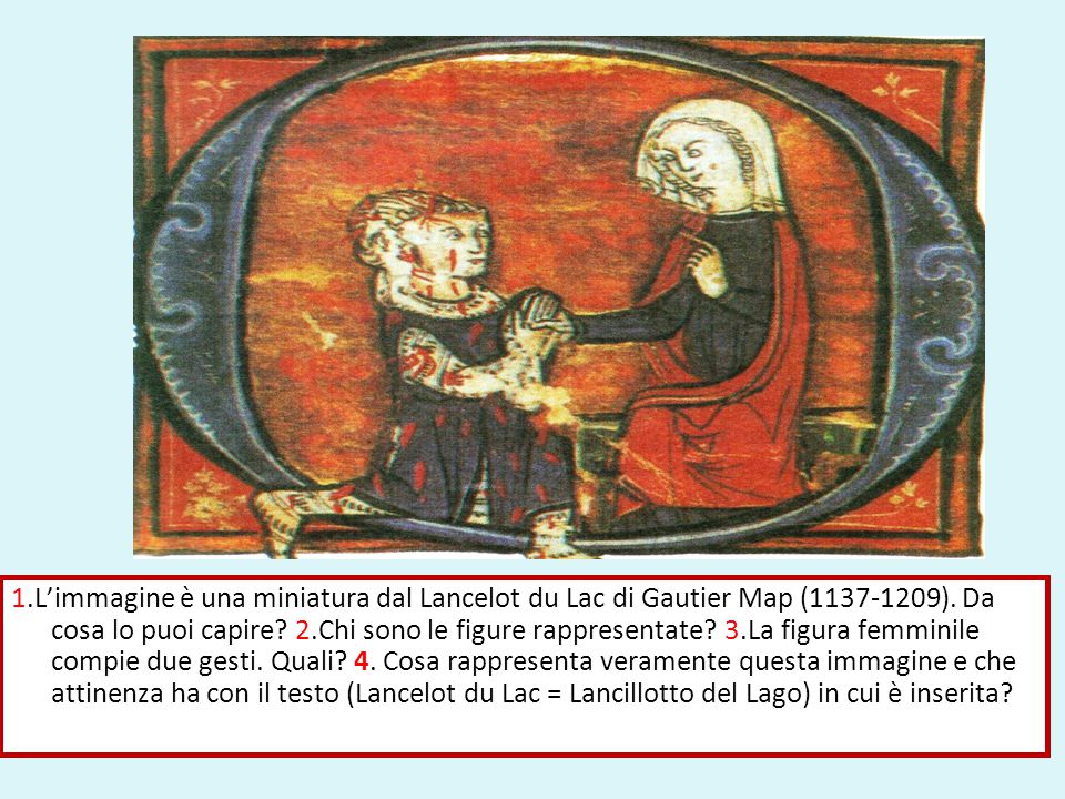 Dall'iniziale O. 2. Un cavaliere ferito ai piedi della sua dama. 3