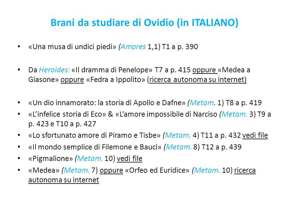 Brani da studiare di Ovidio (in ITALIANO)