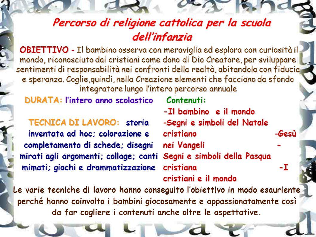 Percorso di religione cattolica per la scuola dell'infanzia