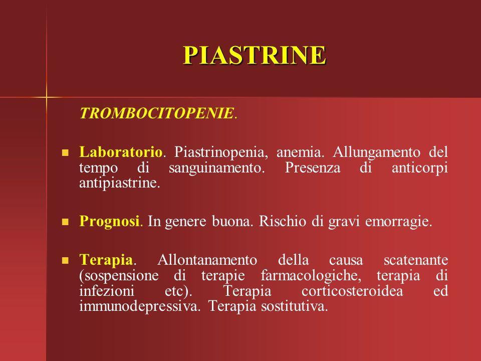 PIASTRINE TROMBOCITOPENIE.