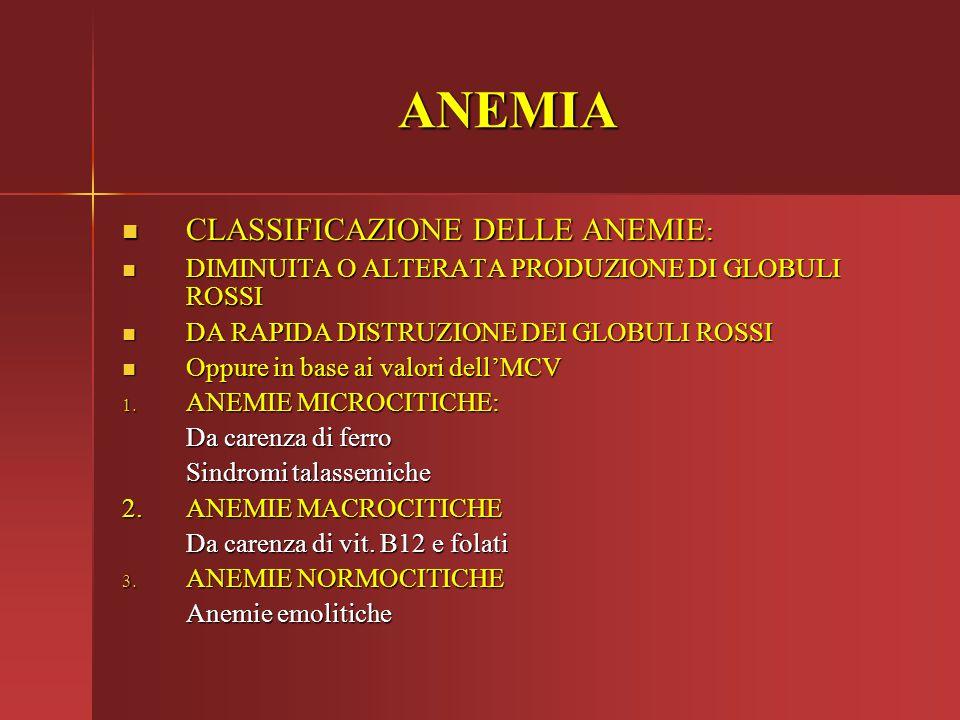 ANEMIA CLASSIFICAZIONE DELLE ANEMIE: