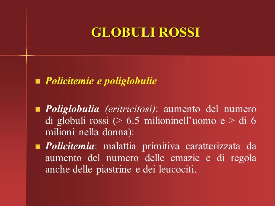 GLOBULI ROSSI Policitemie e poliglobulie