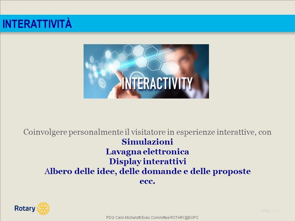 INTERATTIVITÀ Coinvolgere personalmente il visitatore in esperienze interattive, con. Simulazioni.