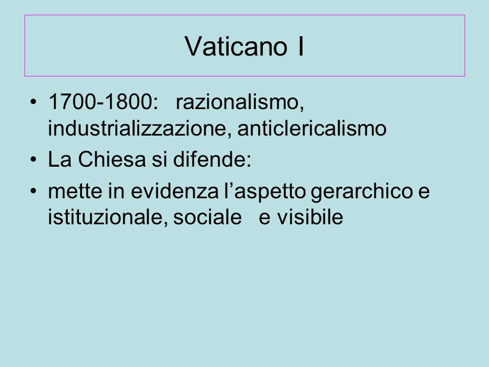 Vaticano I 1700-1800: razionalismo, industrializzazione, anticlericalismo. La Chiesa si difende: