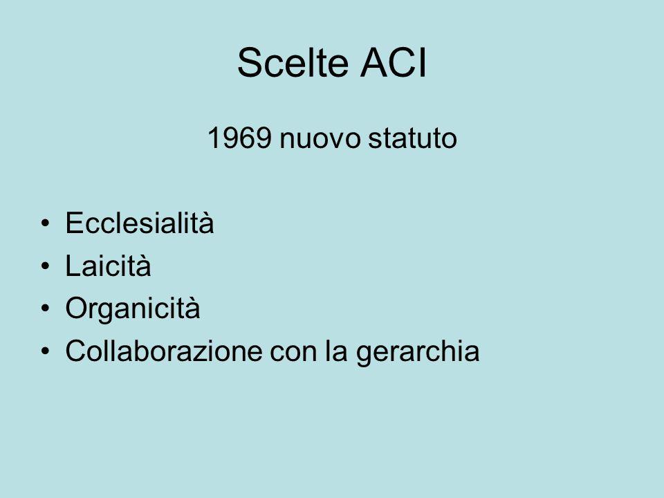 Scelte ACI 1969 nuovo statuto Ecclesialità Laicità Organicità
