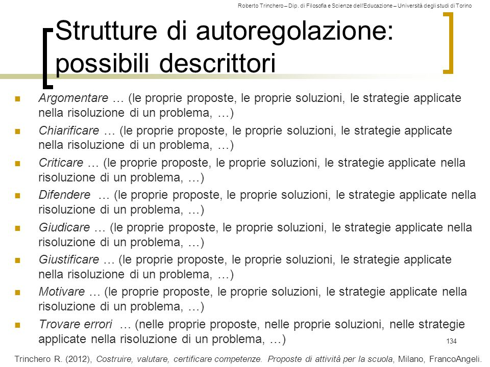 Strutture di autoregolazione: possibili descrittori