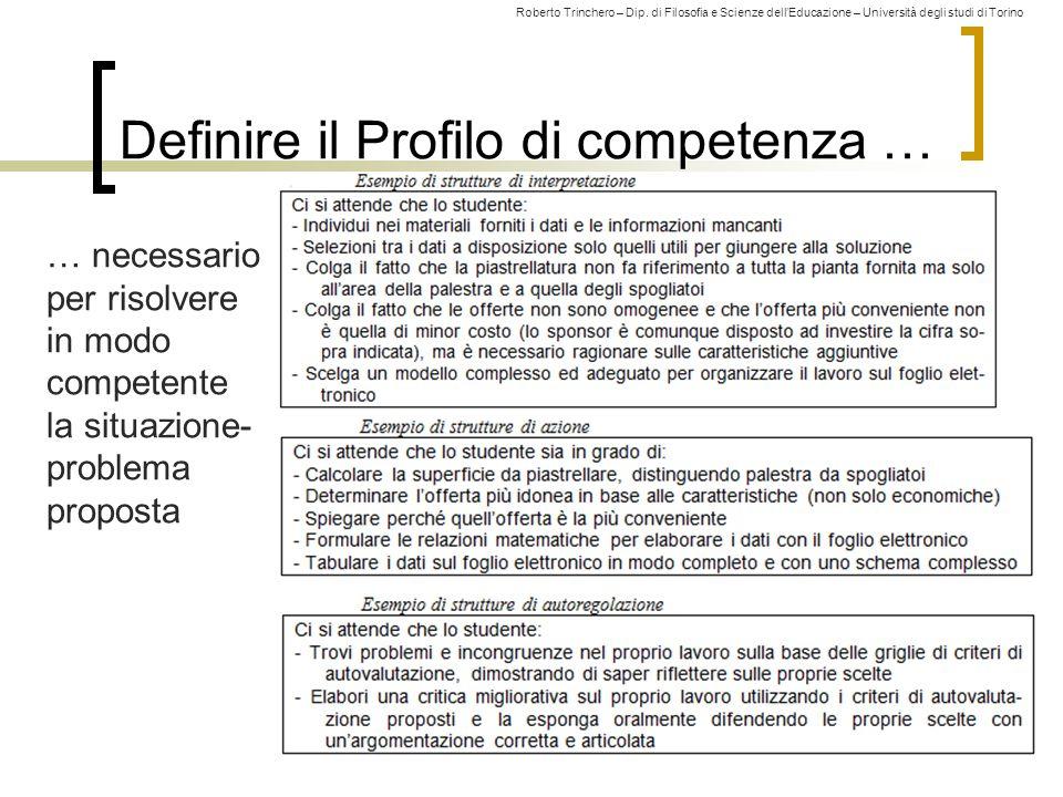 Definire il Profilo di competenza …