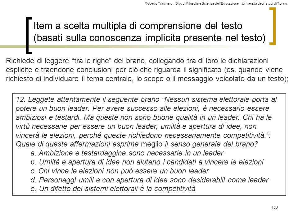 Item a scelta multipla di comprensione del testo (basati sulla conoscenza implicita presente nel testo)