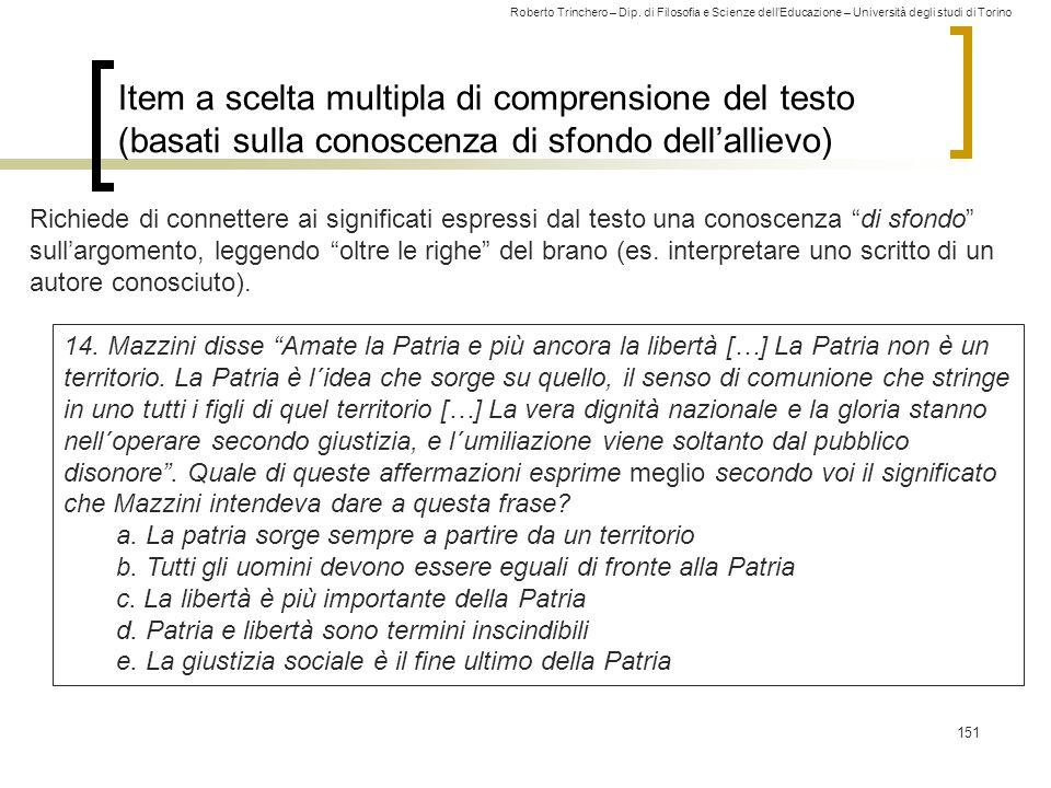 Item a scelta multipla di comprensione del testo (basati sulla conoscenza di sfondo dell'allievo)