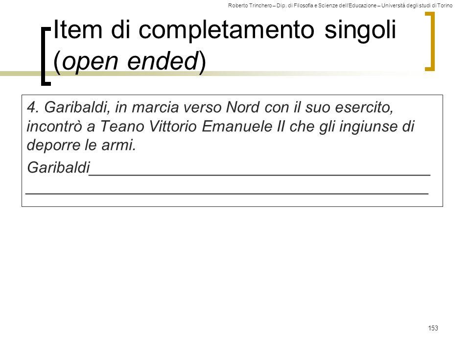 Item di completamento singoli (open ended)