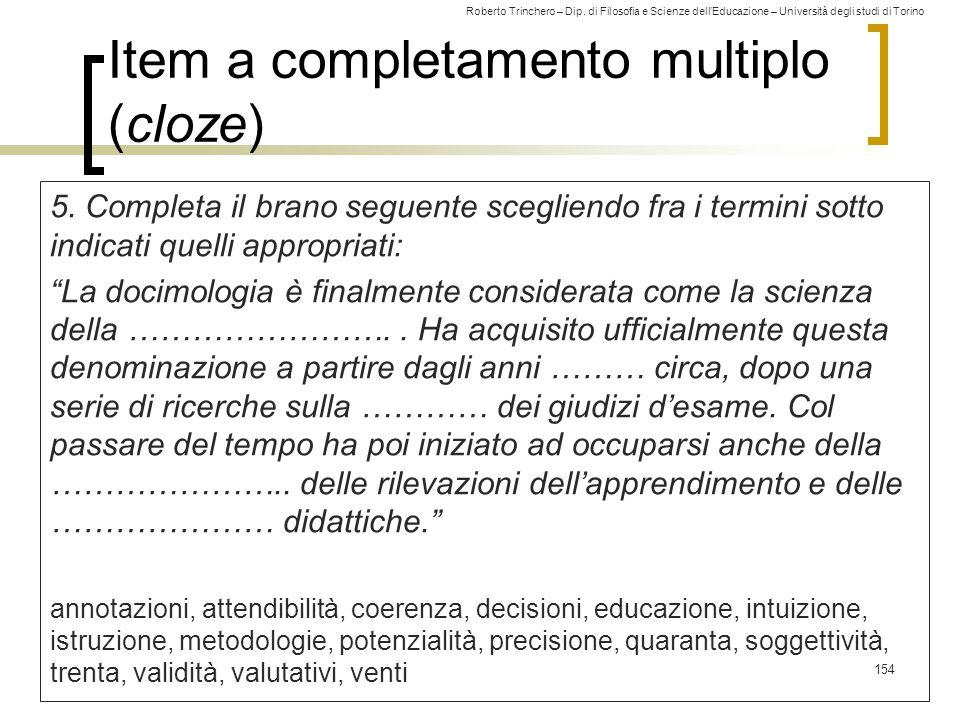 Item a completamento multiplo (cloze)
