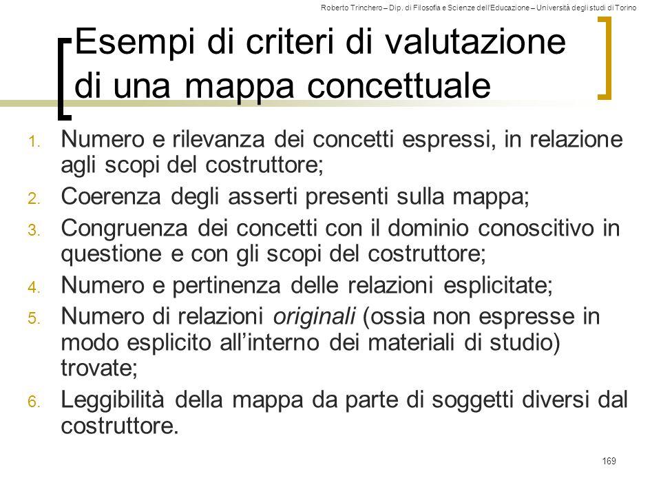 Esempi di criteri di valutazione di una mappa concettuale