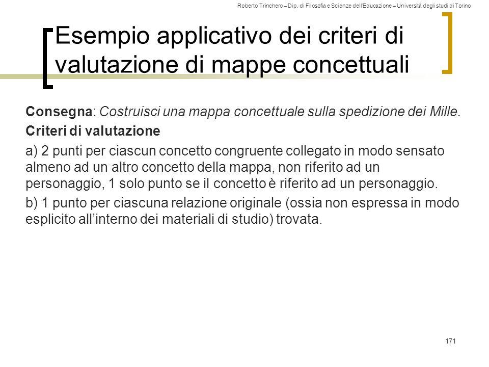 Esempio applicativo dei criteri di valutazione di mappe concettuali