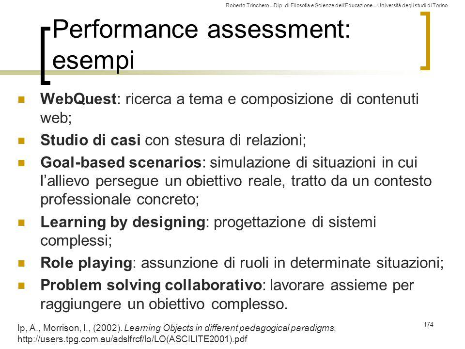 Performance assessment: esempi