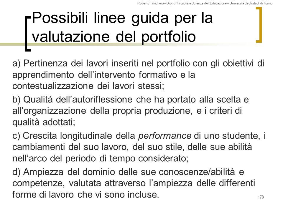 Possibili linee guida per la valutazione del portfolio