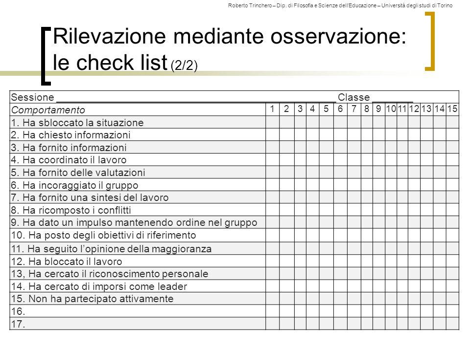Rilevazione mediante osservazione: le check list (2/2)