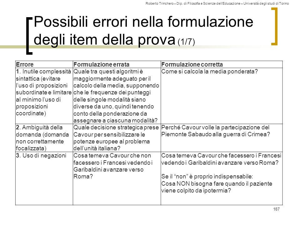 Possibili errori nella formulazione degli item della prova (1/7)