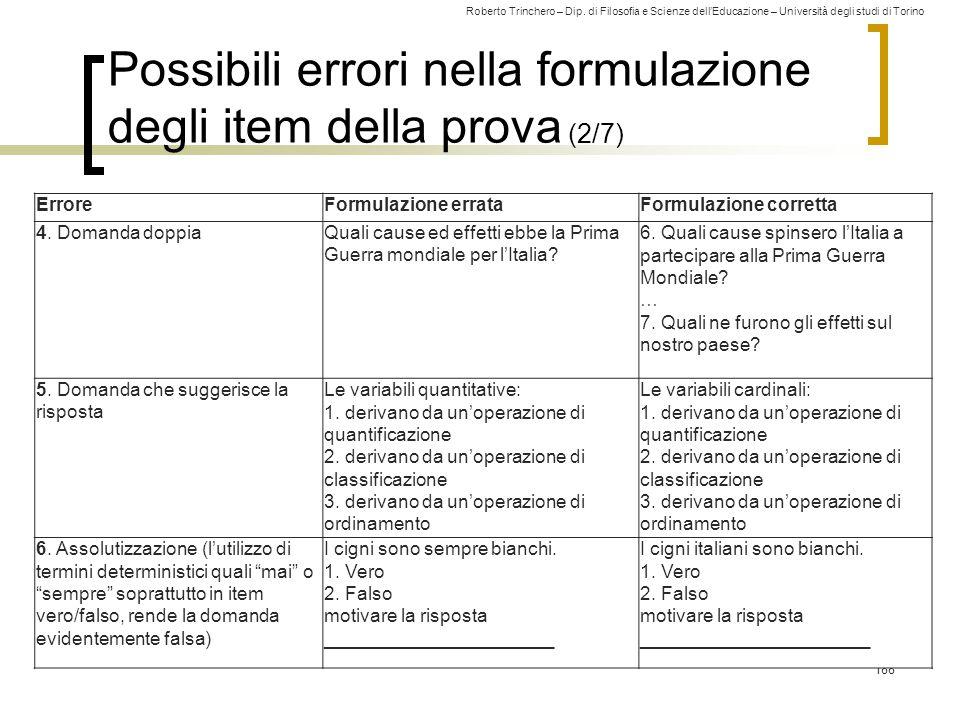 Possibili errori nella formulazione degli item della prova (2/7)