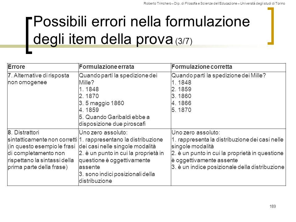 Possibili errori nella formulazione degli item della prova (3/7)