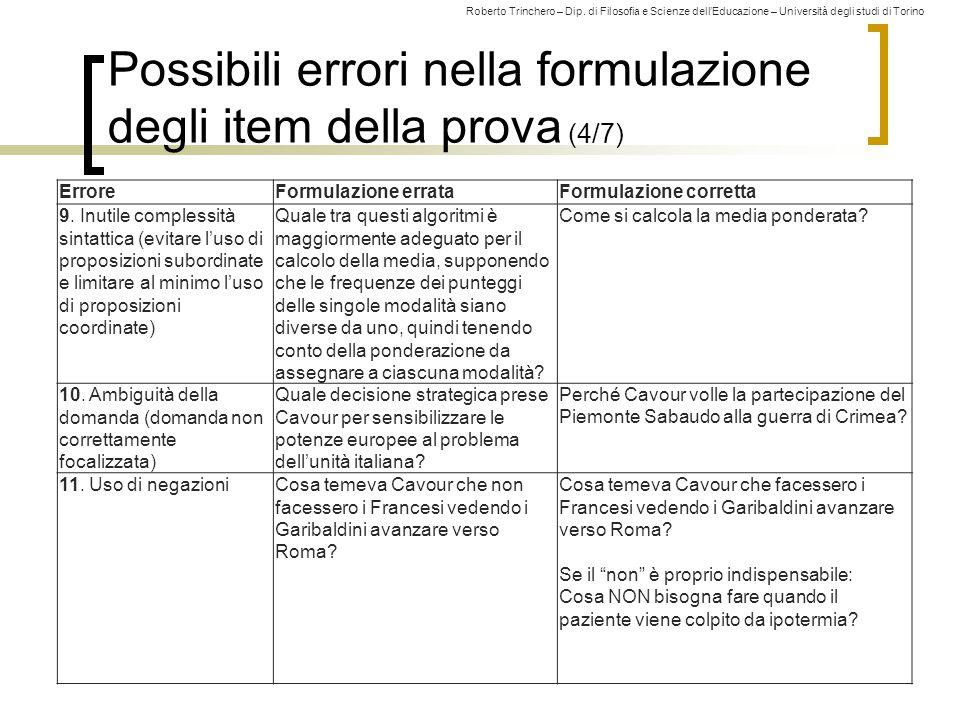 Possibili errori nella formulazione degli item della prova (4/7)