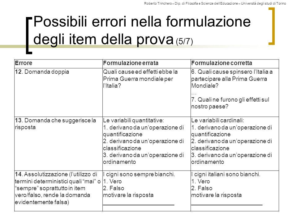 Possibili errori nella formulazione degli item della prova (5/7)