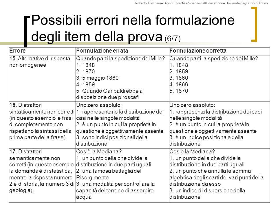 Possibili errori nella formulazione degli item della prova (6/7)