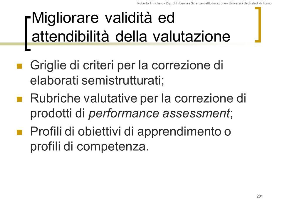 Migliorare validità ed attendibilità della valutazione