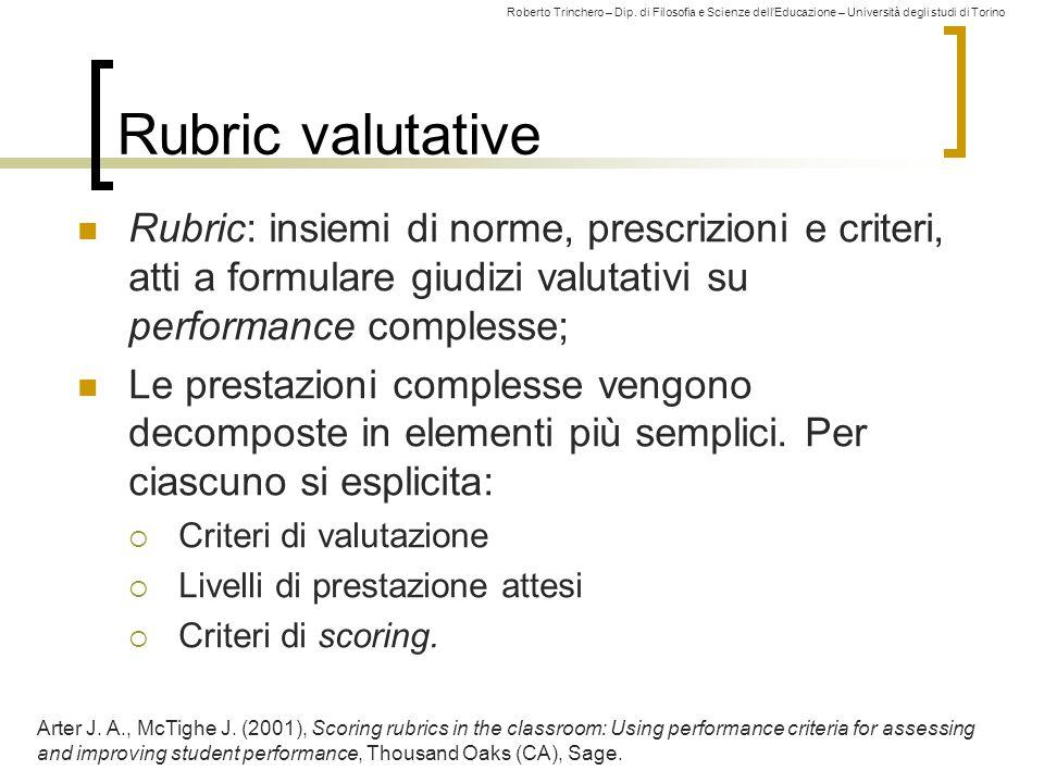 Rubric valutative Rubric: insiemi di norme, prescrizioni e criteri, atti a formulare giudizi valutativi su performance complesse;