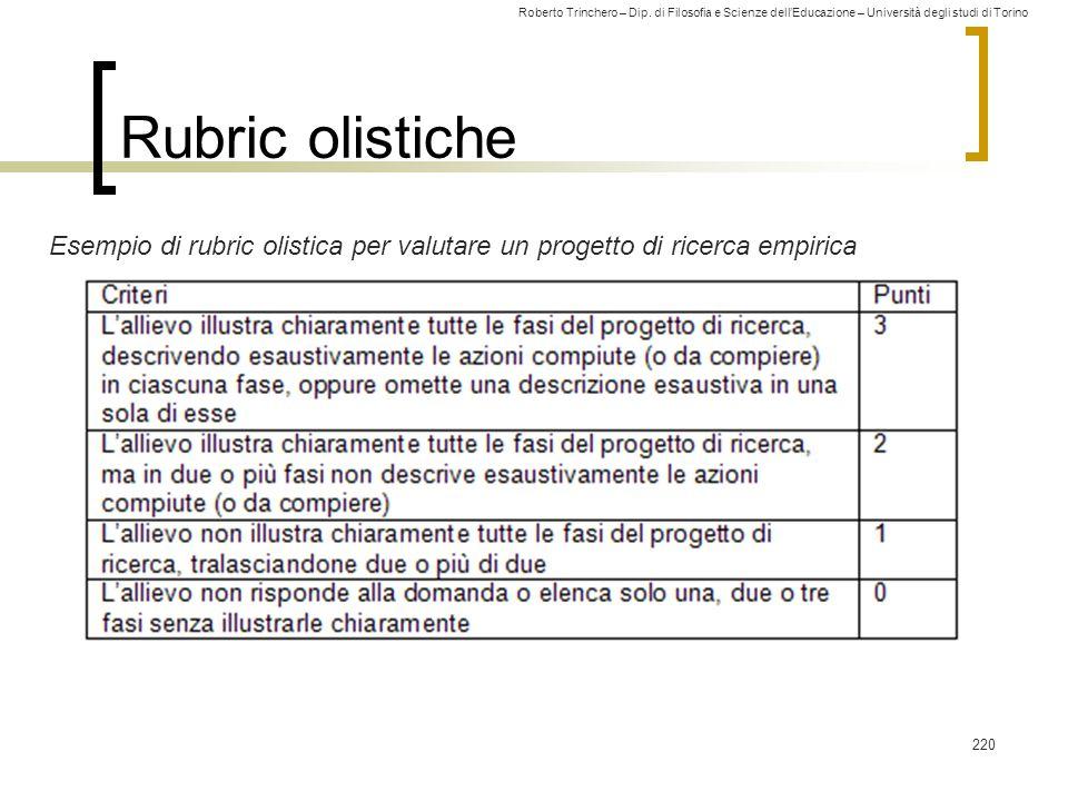 Rubric olistiche Esempio di rubric olistica per valutare un progetto di ricerca empirica