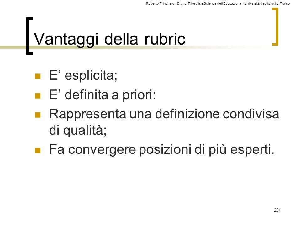 Vantaggi della rubric E' esplicita; E' definita a priori: