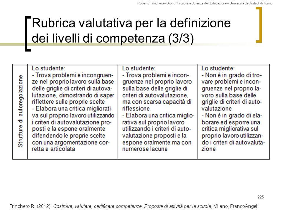 Rubrica valutativa per la definizione dei livelli di competenza (3/3)