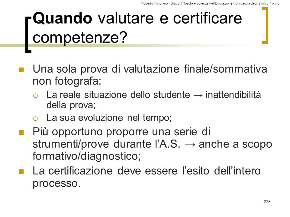 Quando valutare e certificare competenze