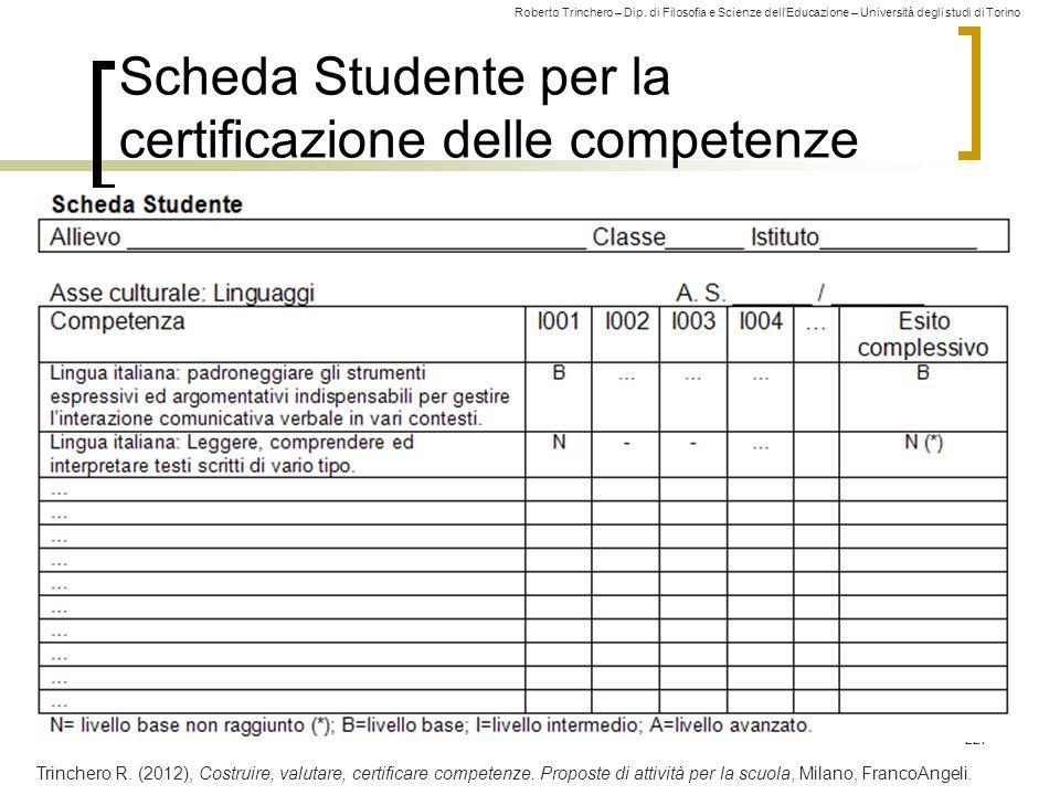 Scheda Studente per la certificazione delle competenze