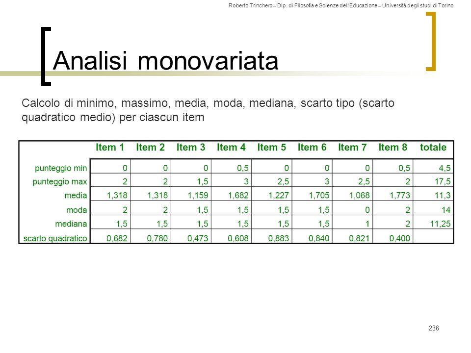 Analisi monovariata Calcolo di minimo, massimo, media, moda, mediana, scarto tipo (scarto quadratico medio) per ciascun item.
