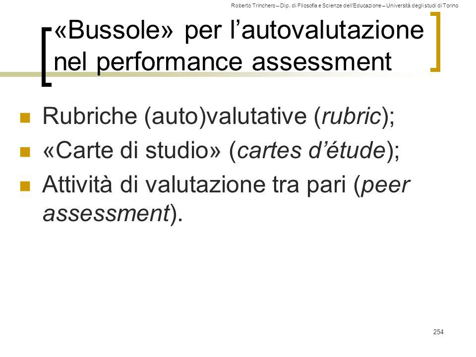 «Bussole» per l'autovalutazione nel performance assessment