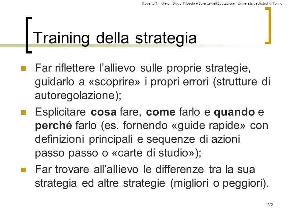 Training della strategia