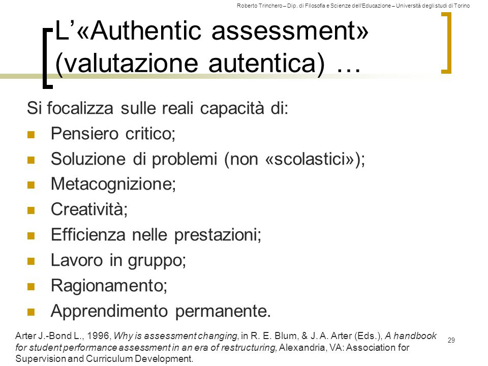L'«Authentic assessment» (valutazione autentica) …