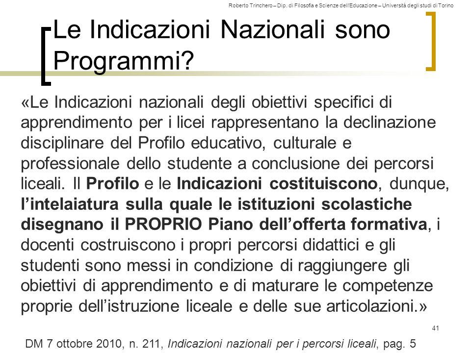 Le Indicazioni Nazionali sono Programmi