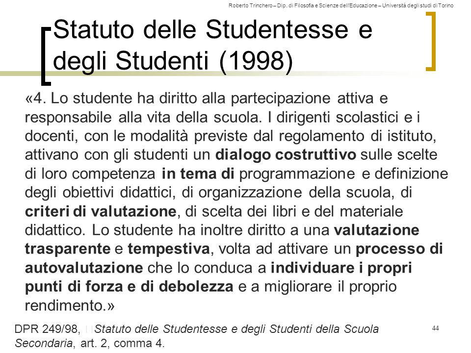 Statuto delle Studentesse e degli Studenti (1998)