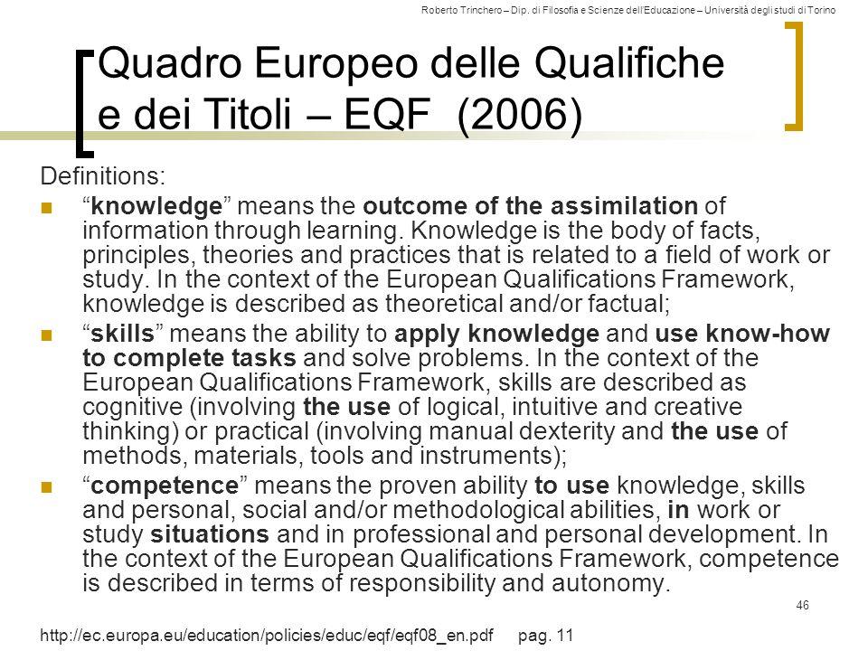Quadro Europeo delle Qualifiche e dei Titoli – EQF (2006)