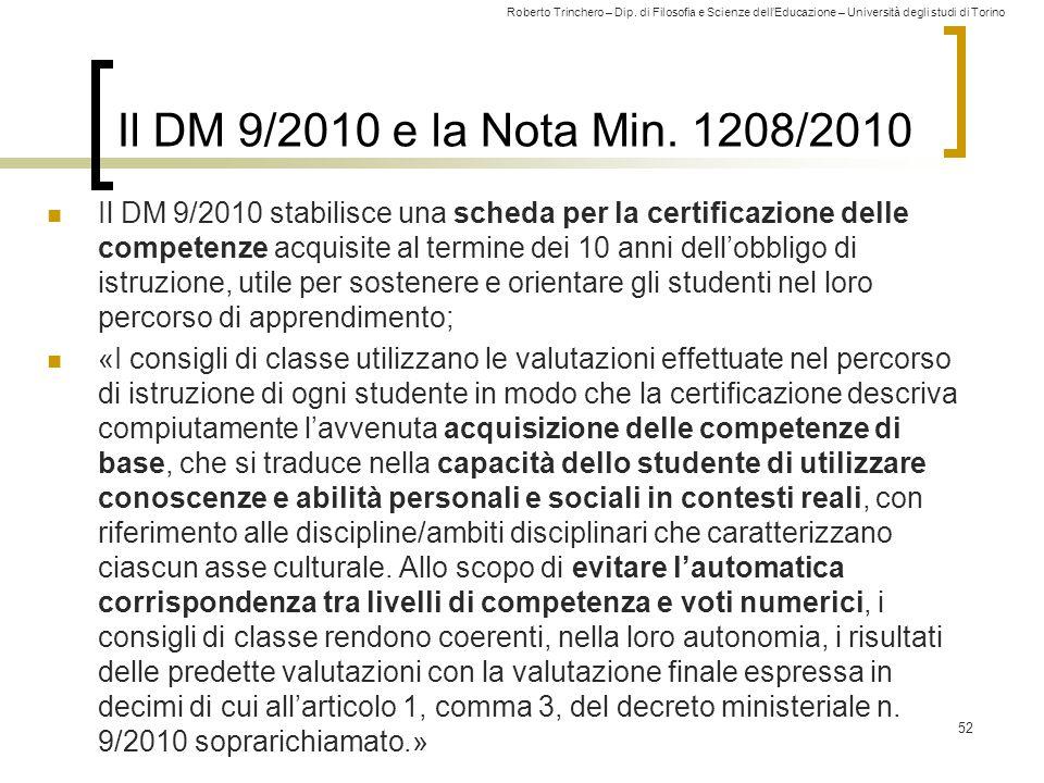 Il DM 9/2010 e la Nota Min. 1208/2010