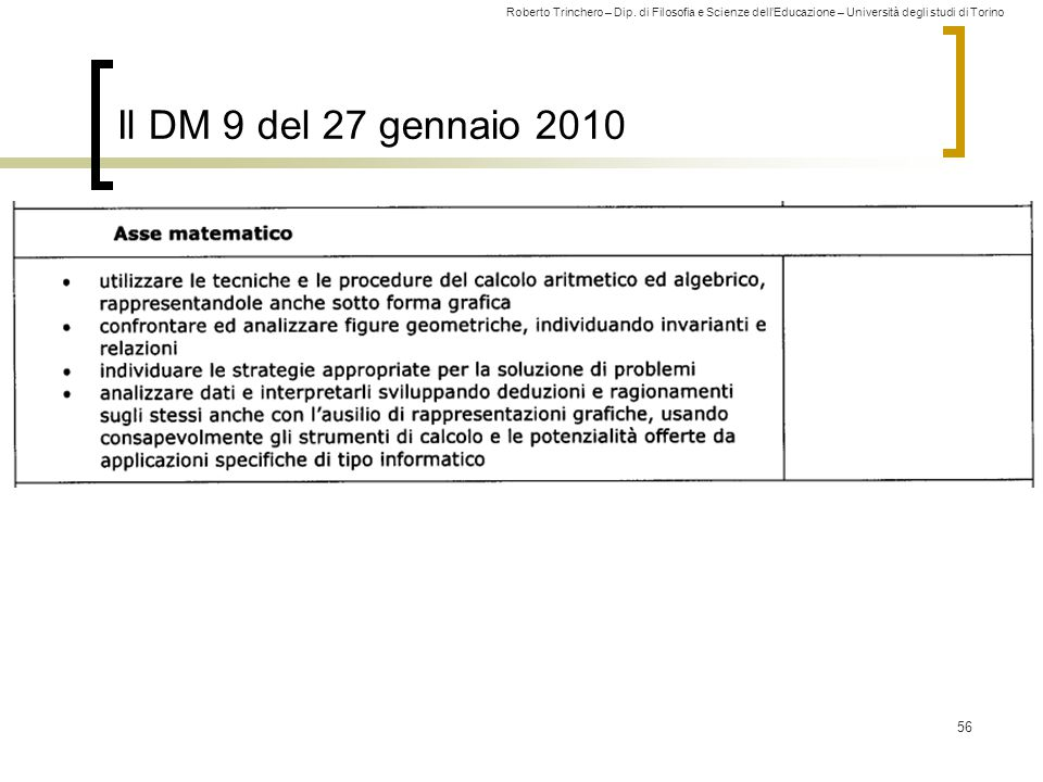 Il DM 9 del 27 gennaio 2010